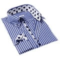 John Lennon Men's Blue and White Stripe Button-up Sport Shirt