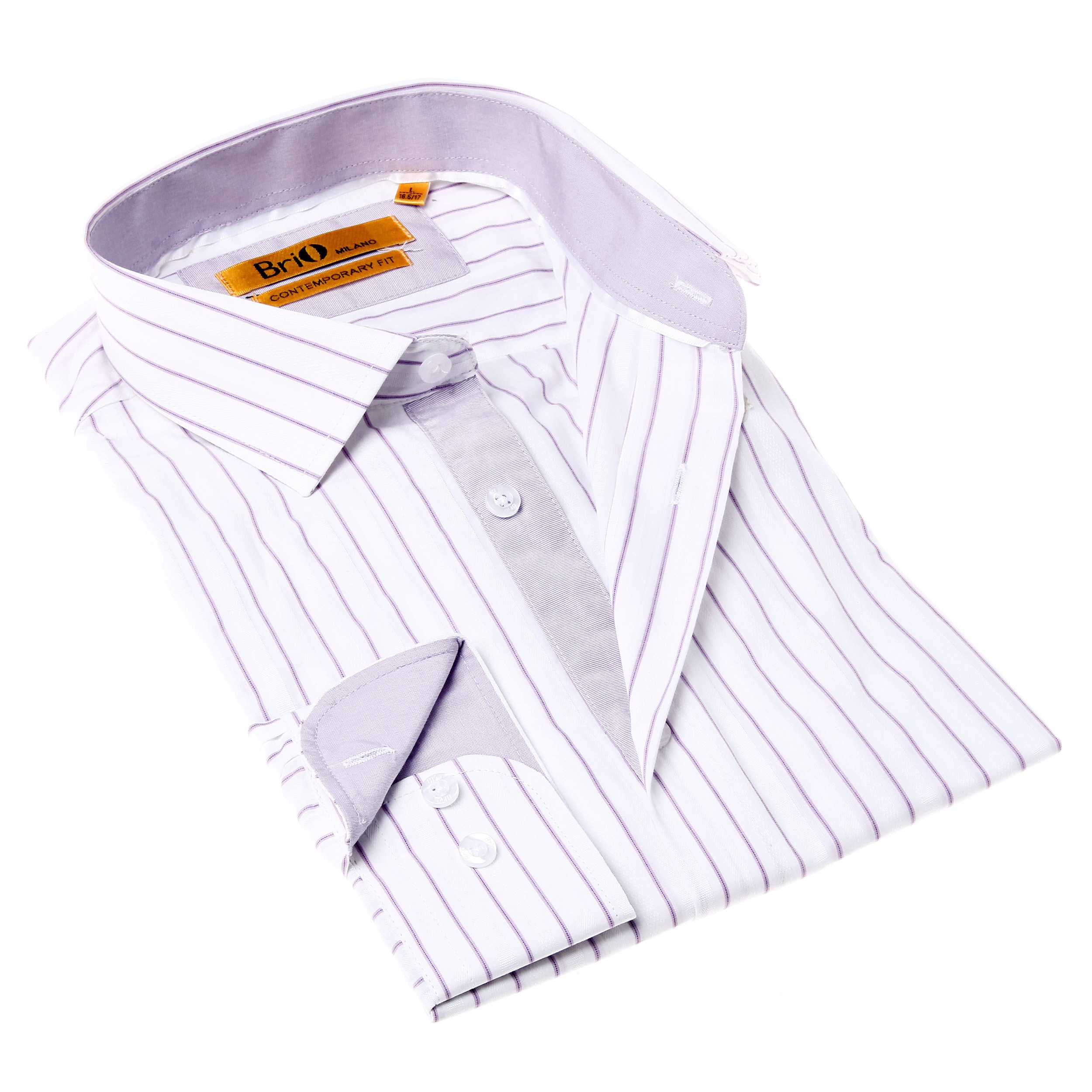Purple Striped Mens Dress Shirt