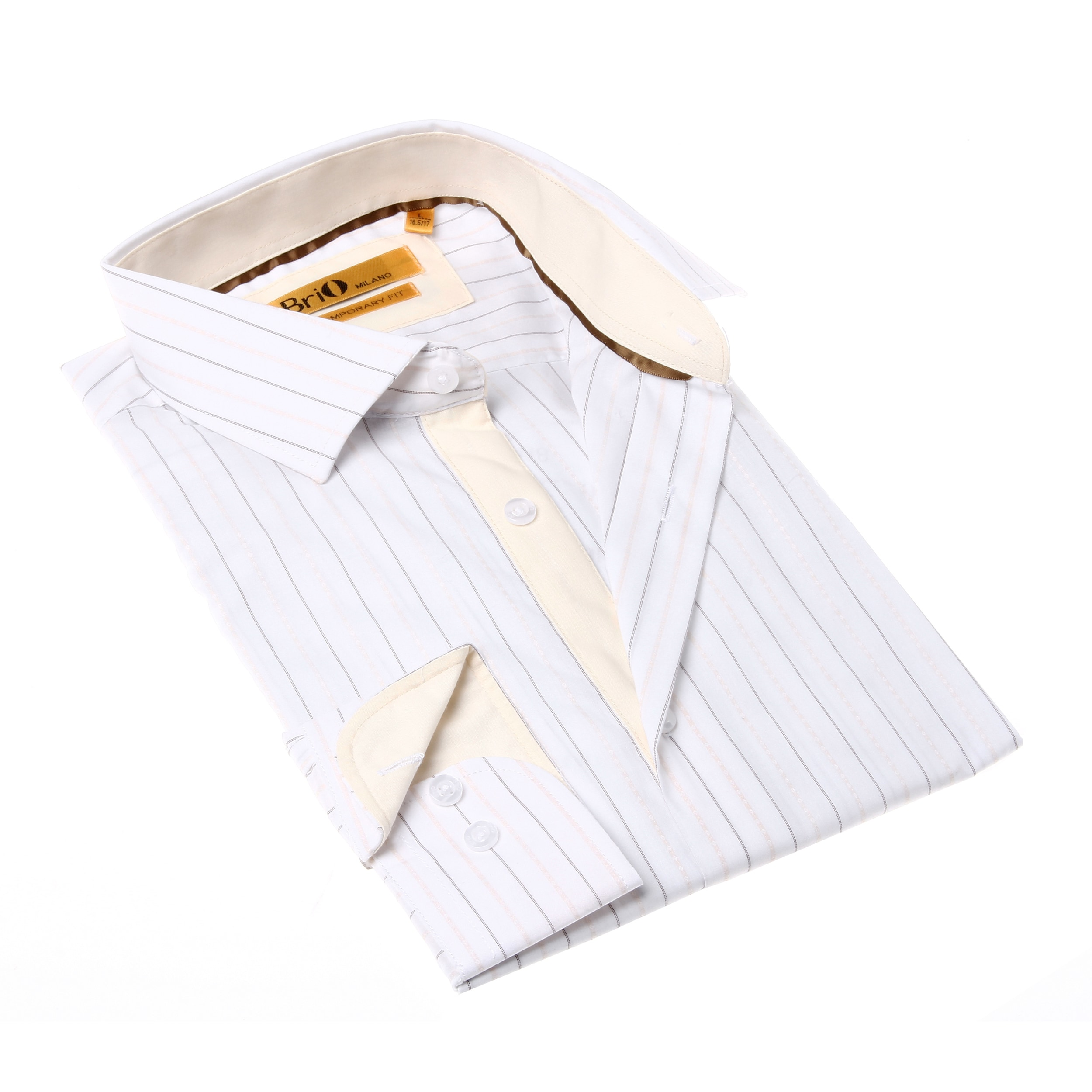 Shop Brio Milano Mens White And Yellow Stripe Button Up Dress Shirt
