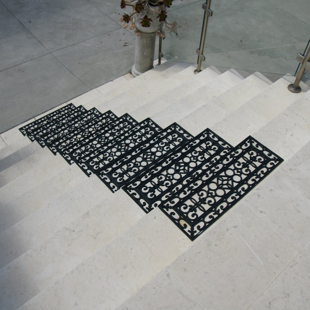 Rubber Cal U0027Regalu0027 Black Stair Tread Rubber Mats (Set Of 6)   Free Shipping  Today   Overstock.com   16828305