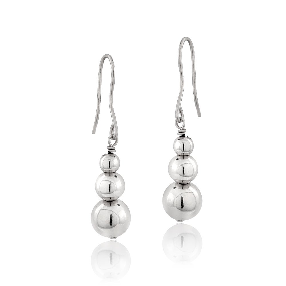 Mondevio Sterling Silver Graduating Journey Beads Dangle Drop Earrings 3 Colors On Free Shipping Orders Over 45 9649098