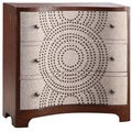 Sona English Chestnut and Linen 3-drawer Cabinet