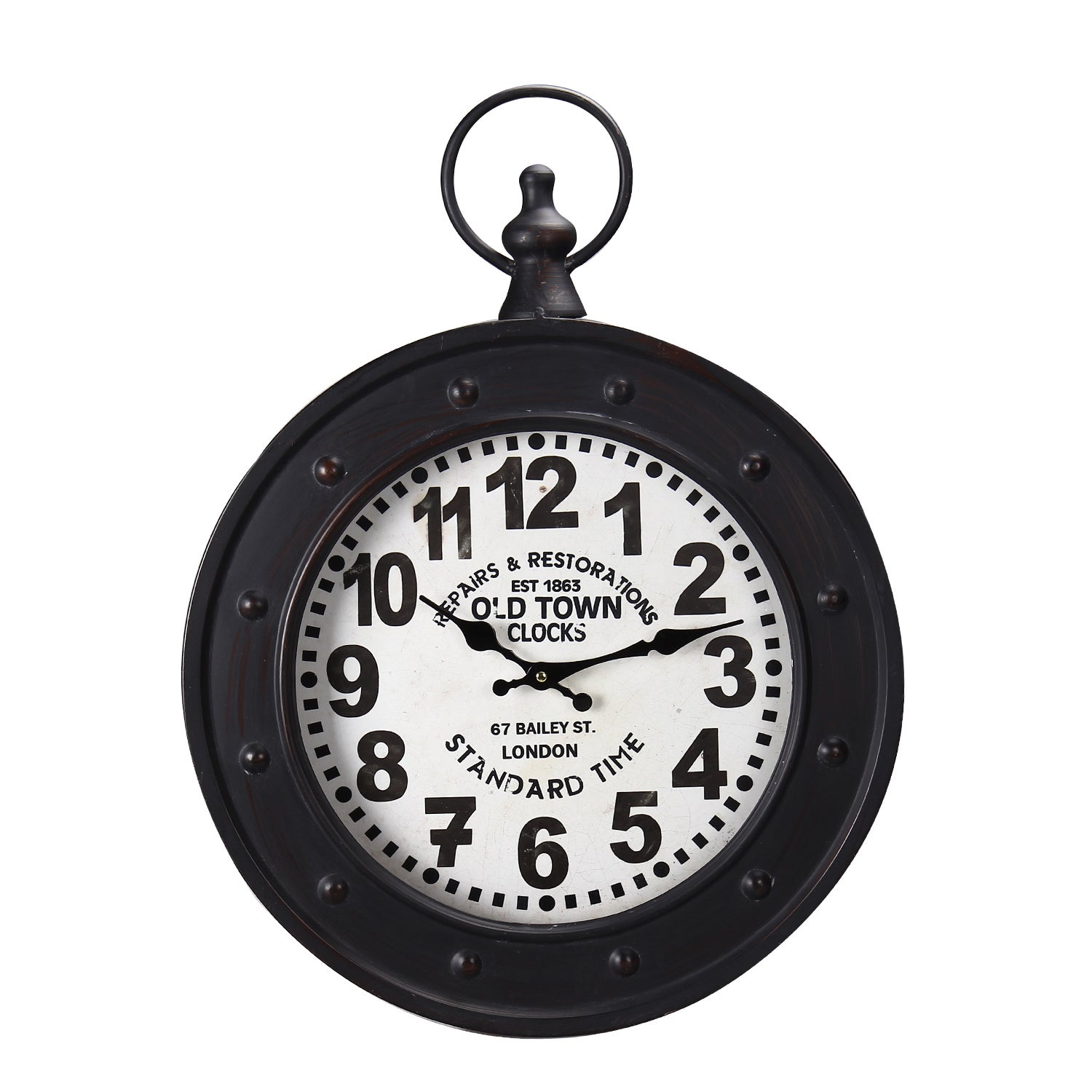 Adeco Black Iron Vintage Inspired Old Town Clocks Pocket Watch Style Hanging Wall Clock Free Shipping Today 9653454