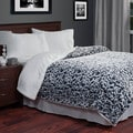 Lavish Home Soft Plush Botanical Print Blanket with Sherpa Backing
