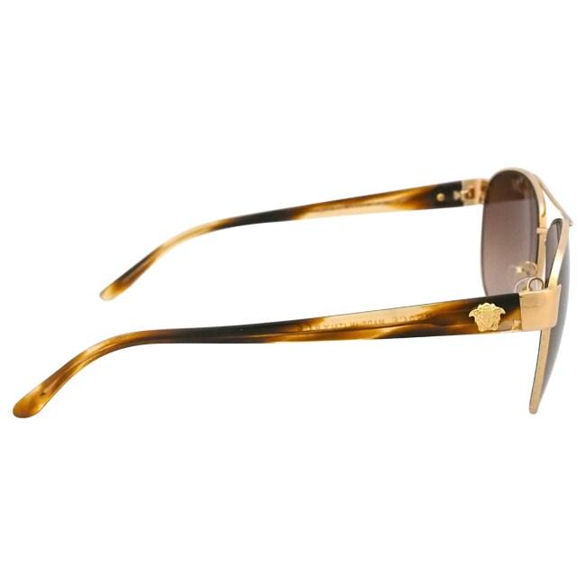 d23732c27717 Shop Versace Women's 'VE2145 1002/13' Goldtone Aviator Sunglasses - Free  Shipping Today - Overstock - 9657831