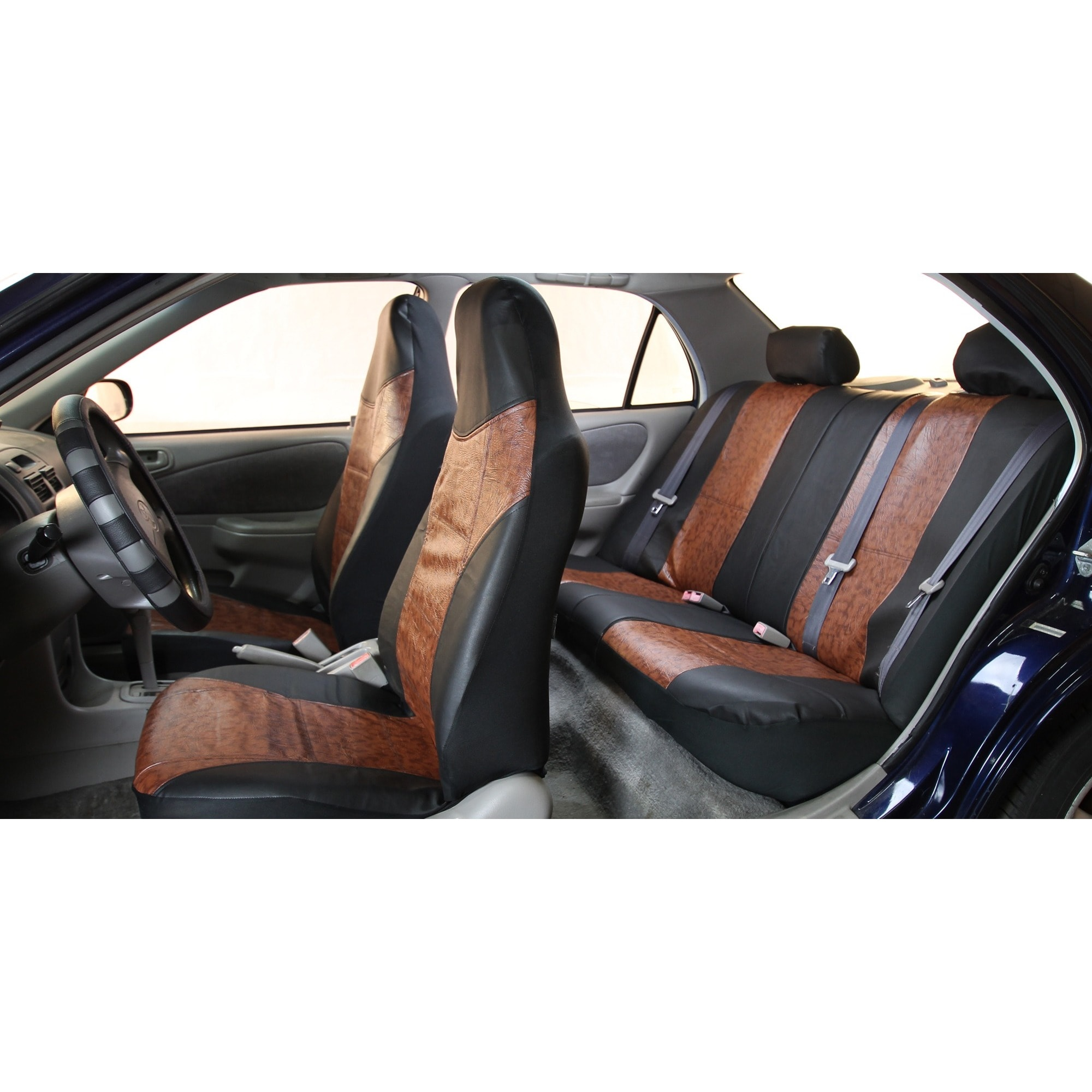 FH Group Black Brown PU Textured Leather Auto Seat Covers Full Set