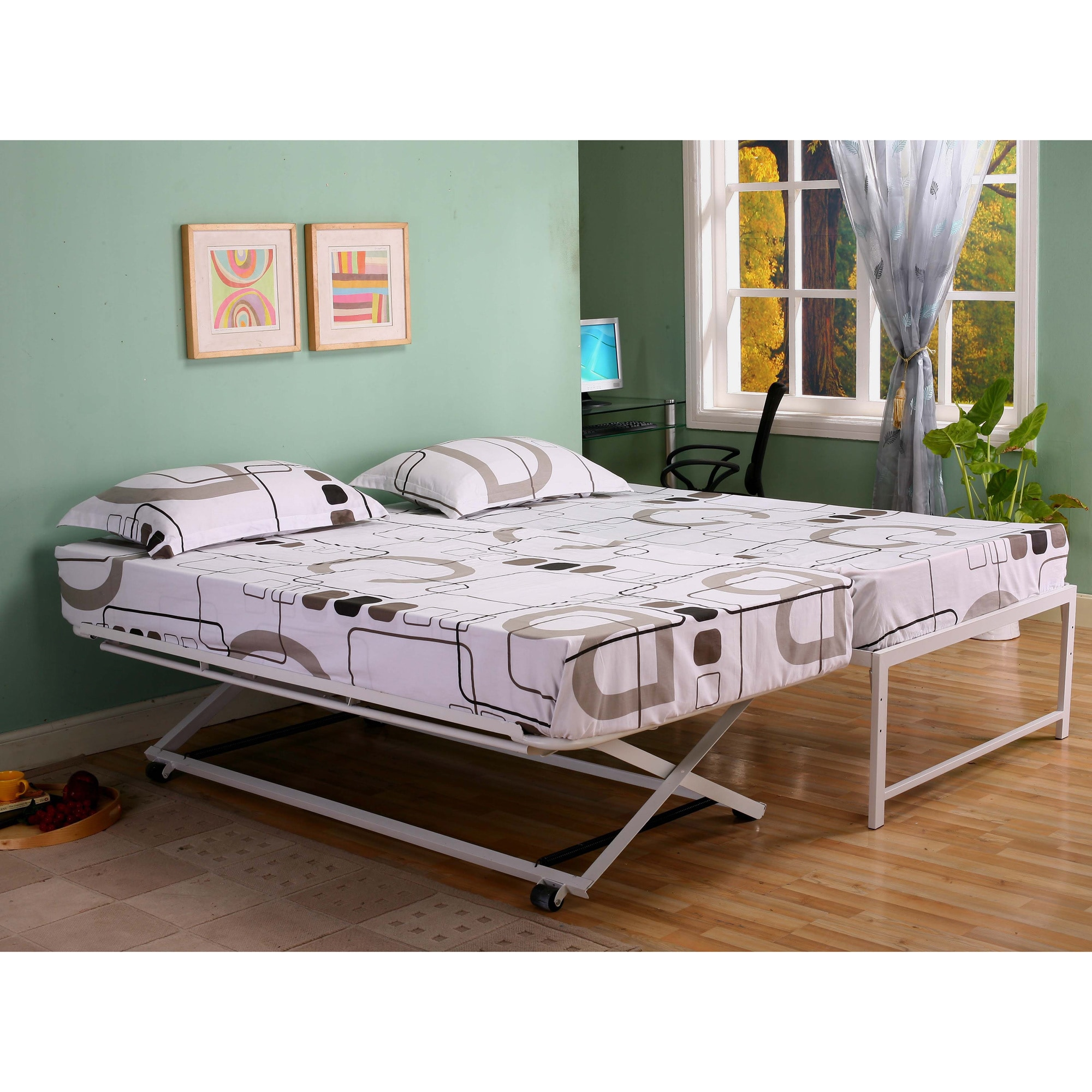 Shop K&B Hi Riser Twin Bed With Pop Up Trundle - Free Shipping Today ...