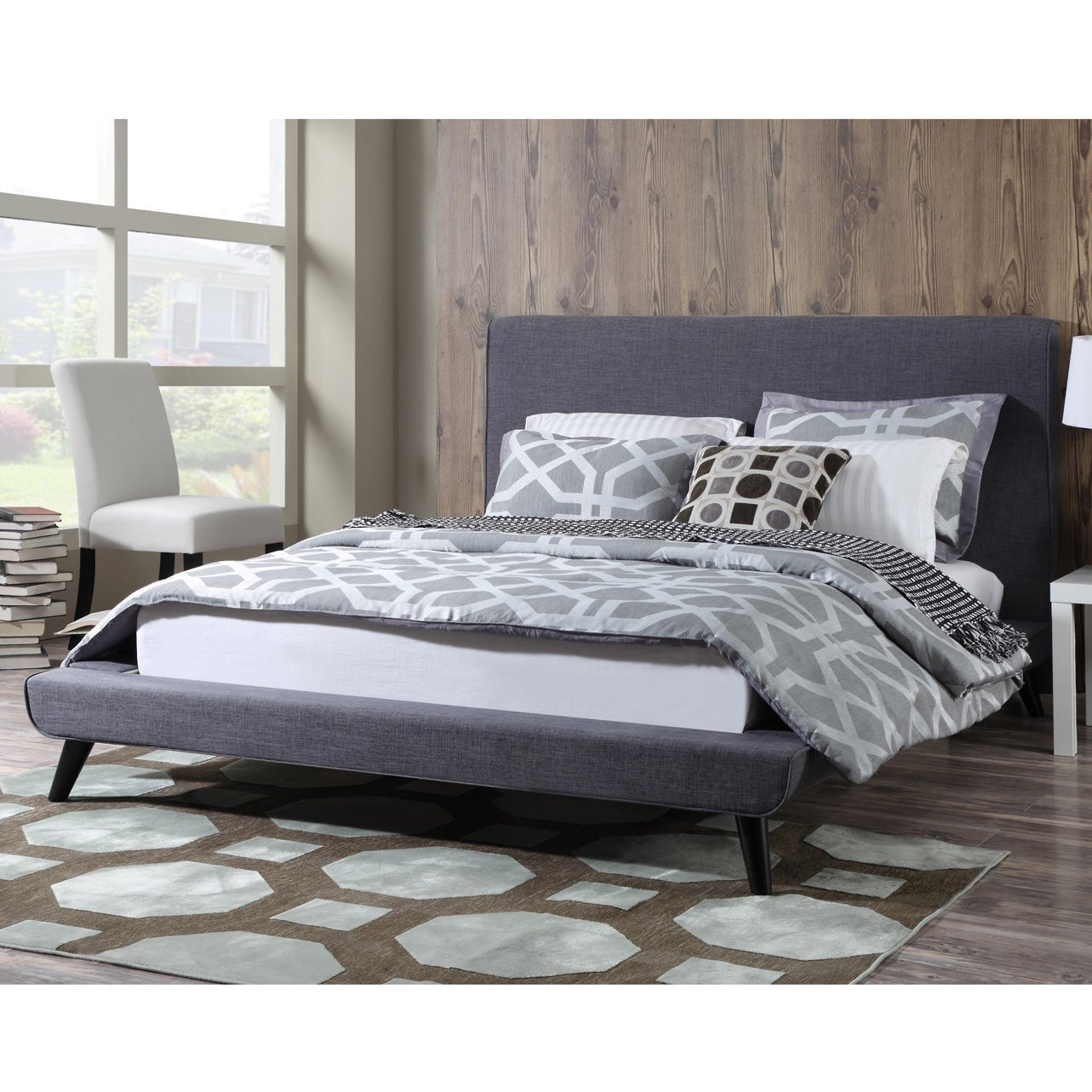 Shop Nixon Mid-century Grey Linen Bed - Free Shipping Today ...