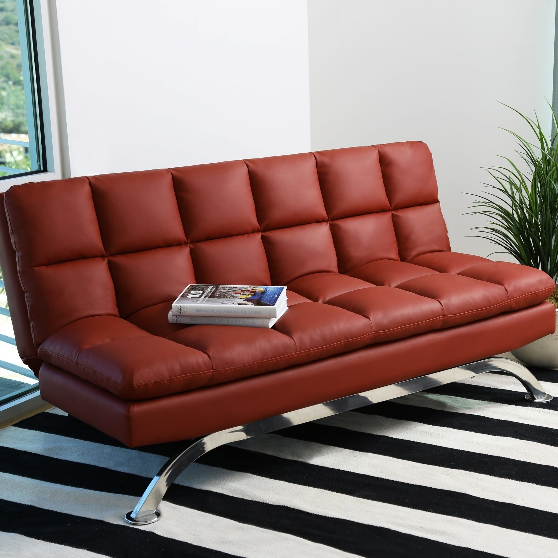Abbyson Vienna Bonded Leather Euro Futon Sofa On Free Shipping Today Com 9661621
