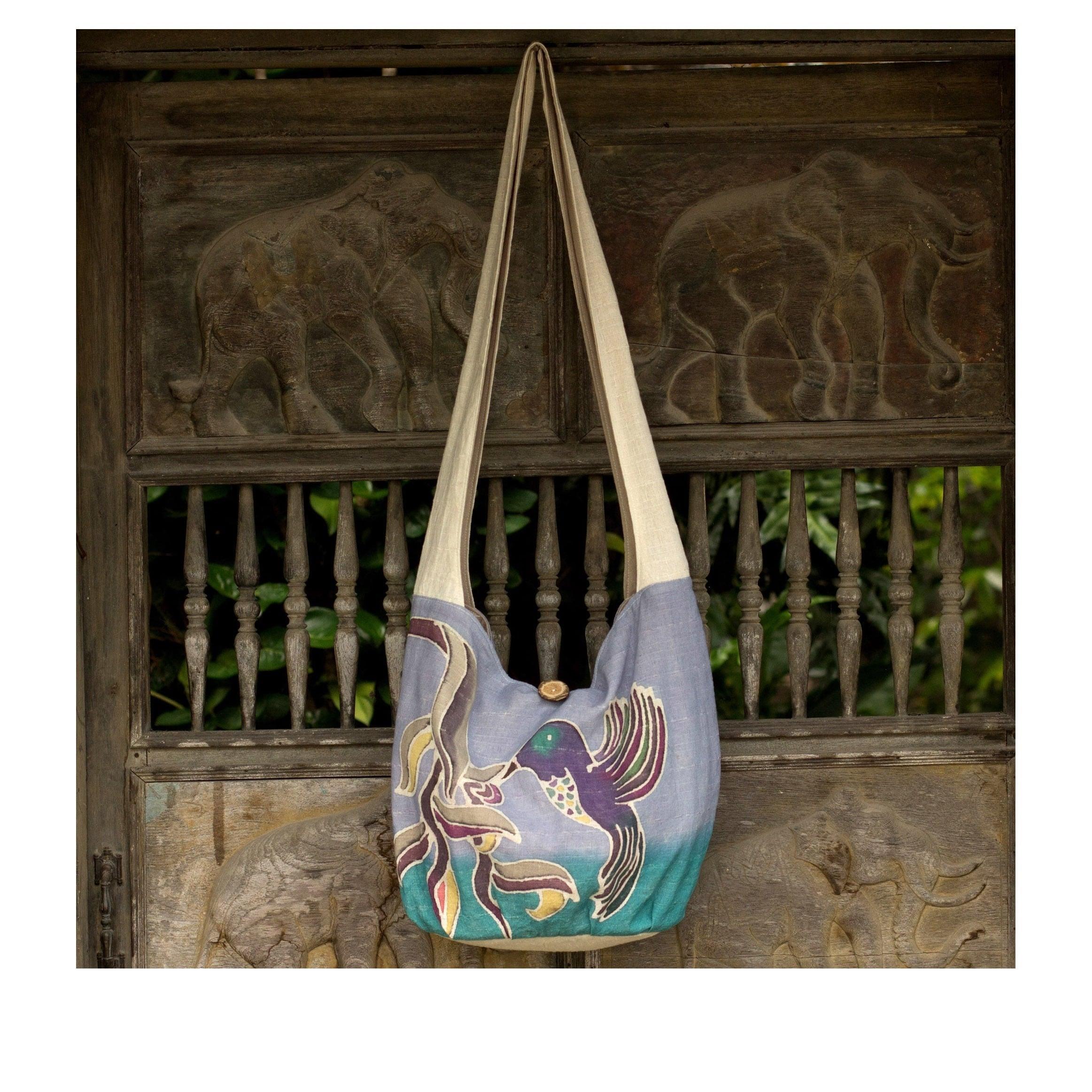 Shop Handmade Cotton Batik Thai Hummingbird Sling Bag Thailand Brown On Sale Free Shipping Orders Over 45 9661820