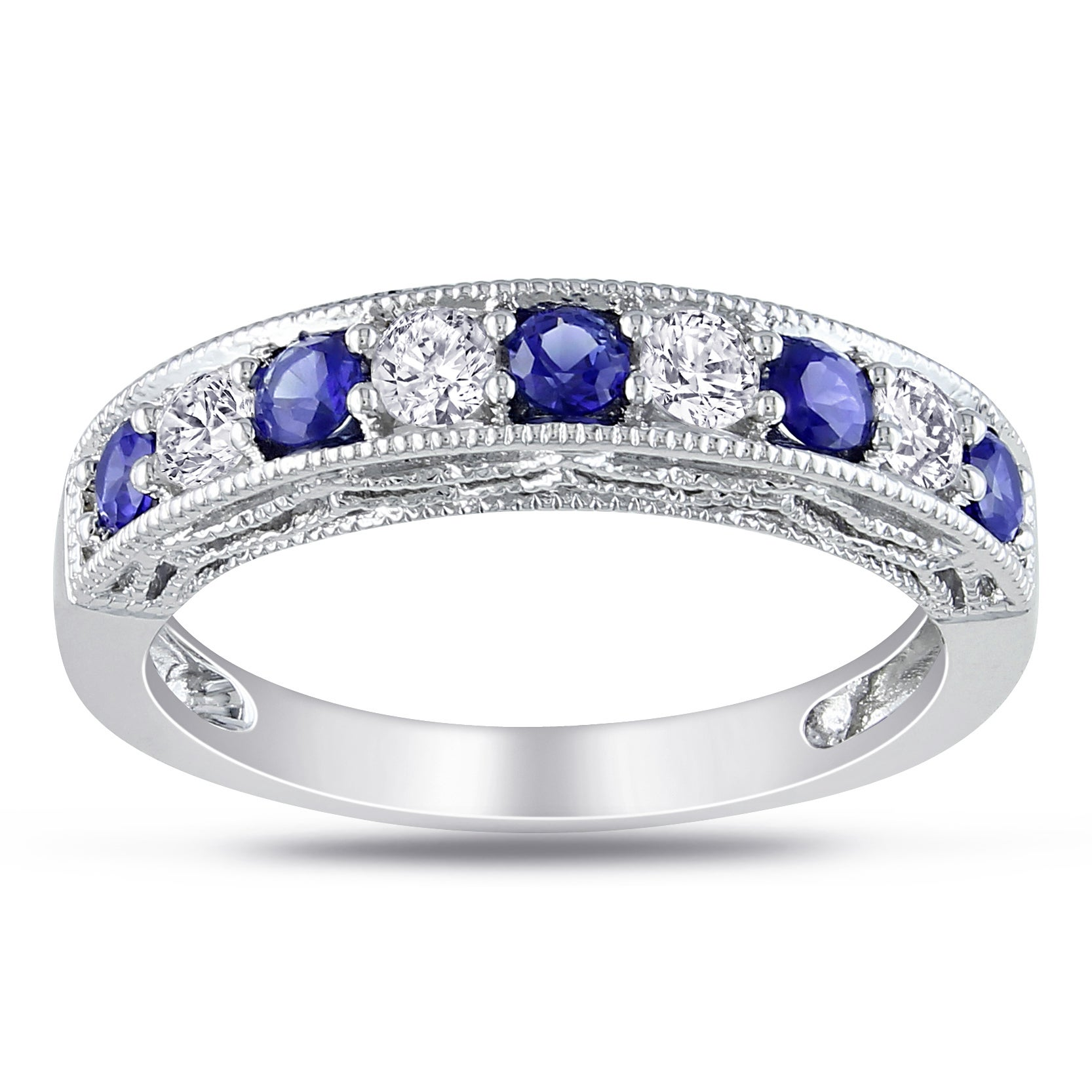 p bands white zirconia gold band anniversary ring cubic in eternity sapphire and