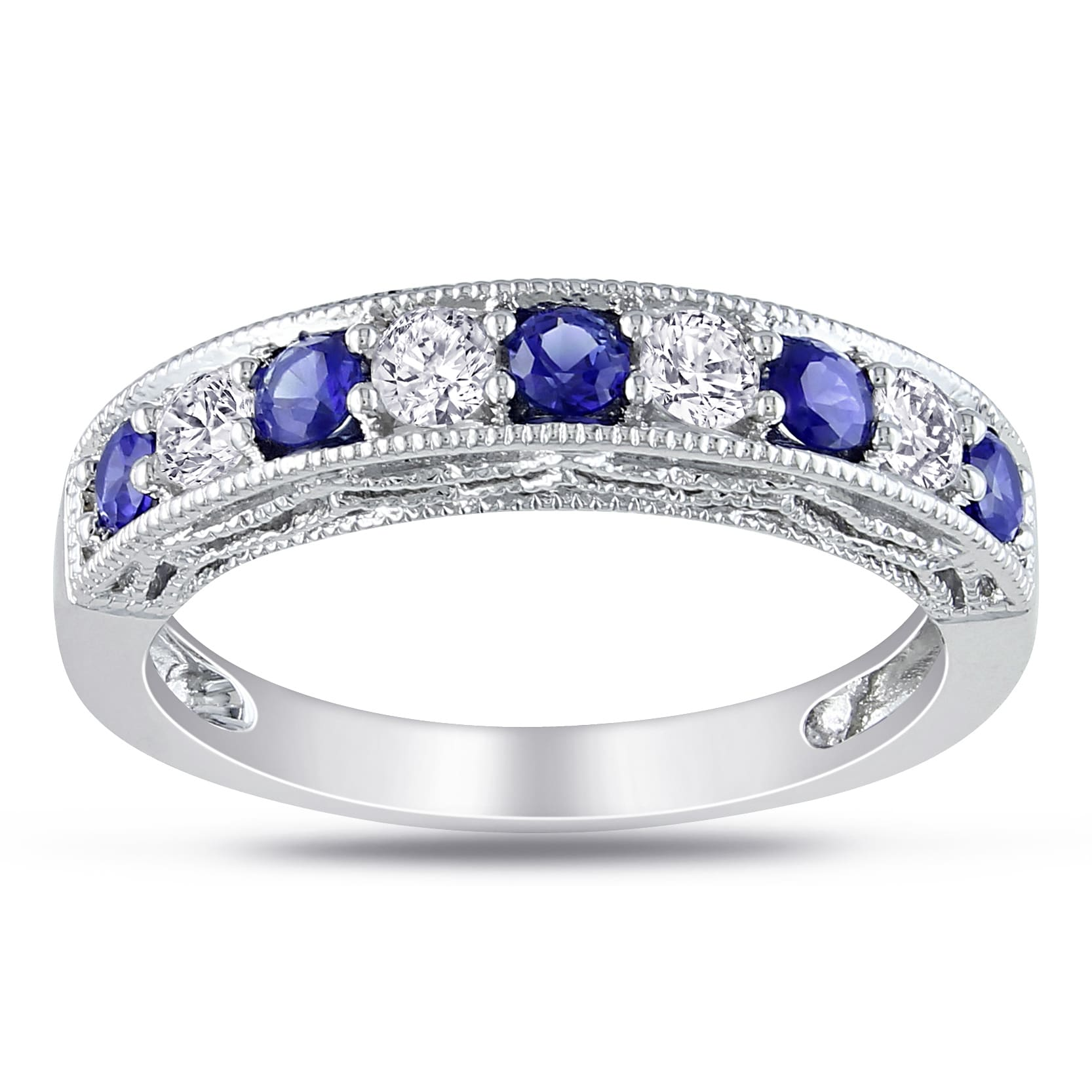 bands set pave round gold wg white anniversary sapphire in with gemstone diamond wedding art deco jewelry blue band nl