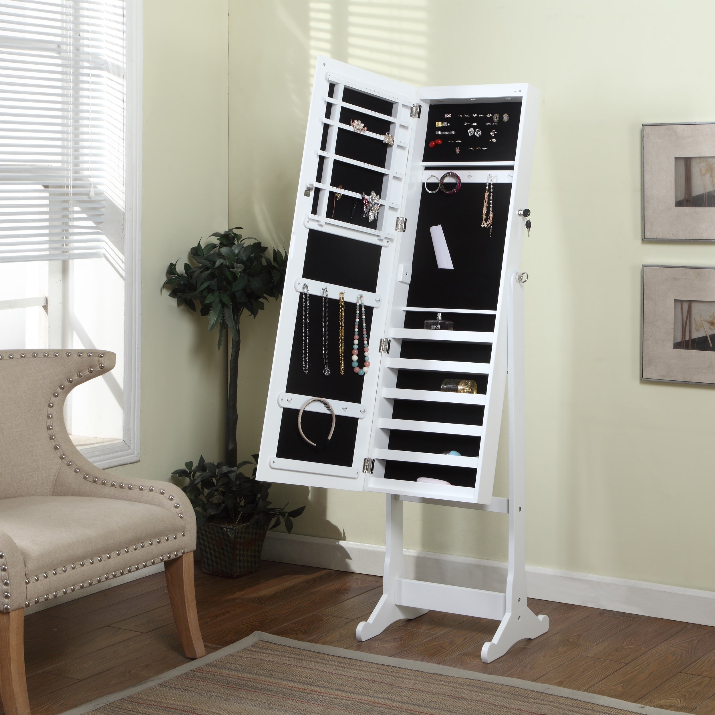 Shop Artiva Usa 63 Inch White Floor Standing Mirror And Jewelry