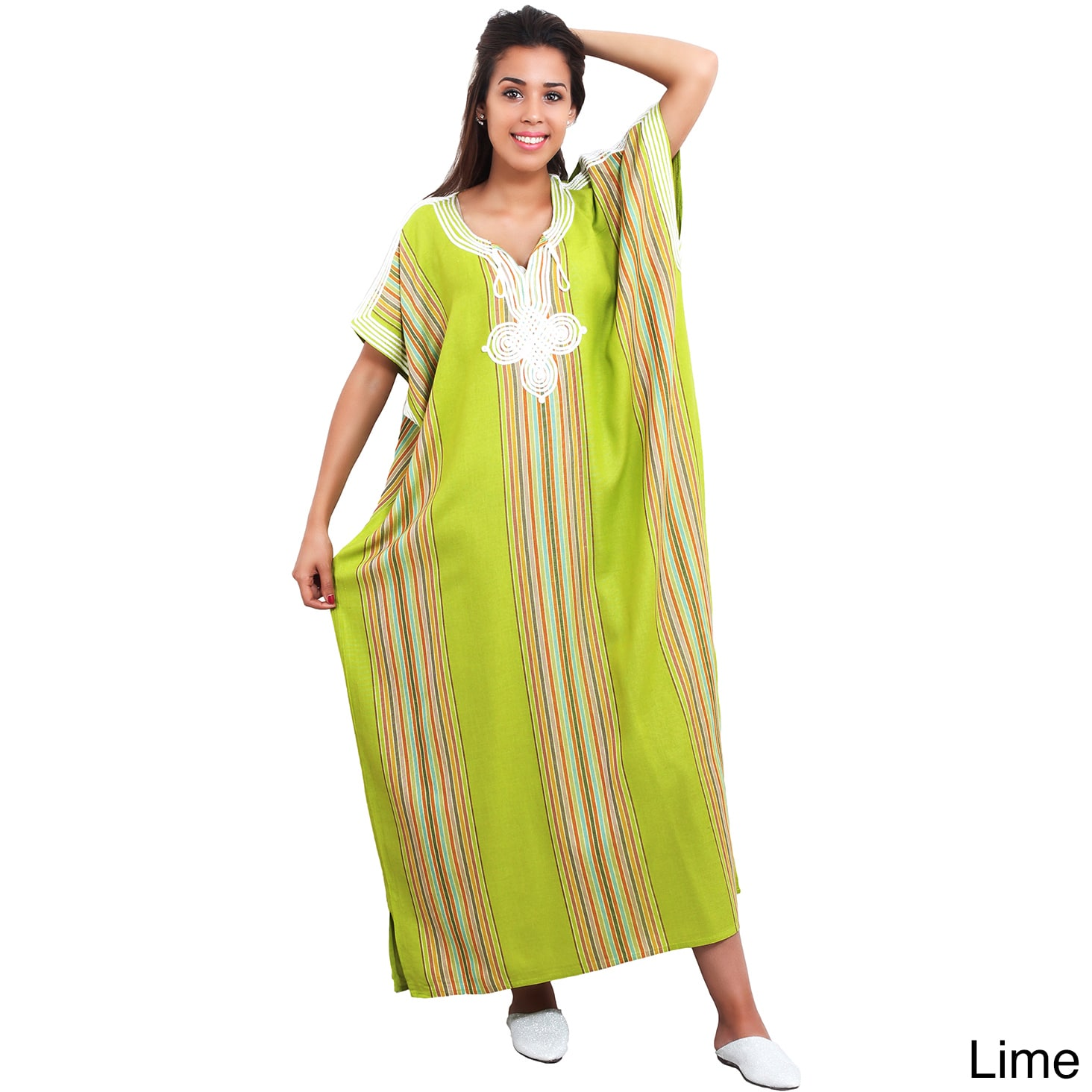 e5b447f9206 Shop Handmade Moroccan Women s Linen Long Caftan with Hand Embroidered  Fiber (Morocco) - Free Shipping On Orders Over  45 - Overstock - 9667844