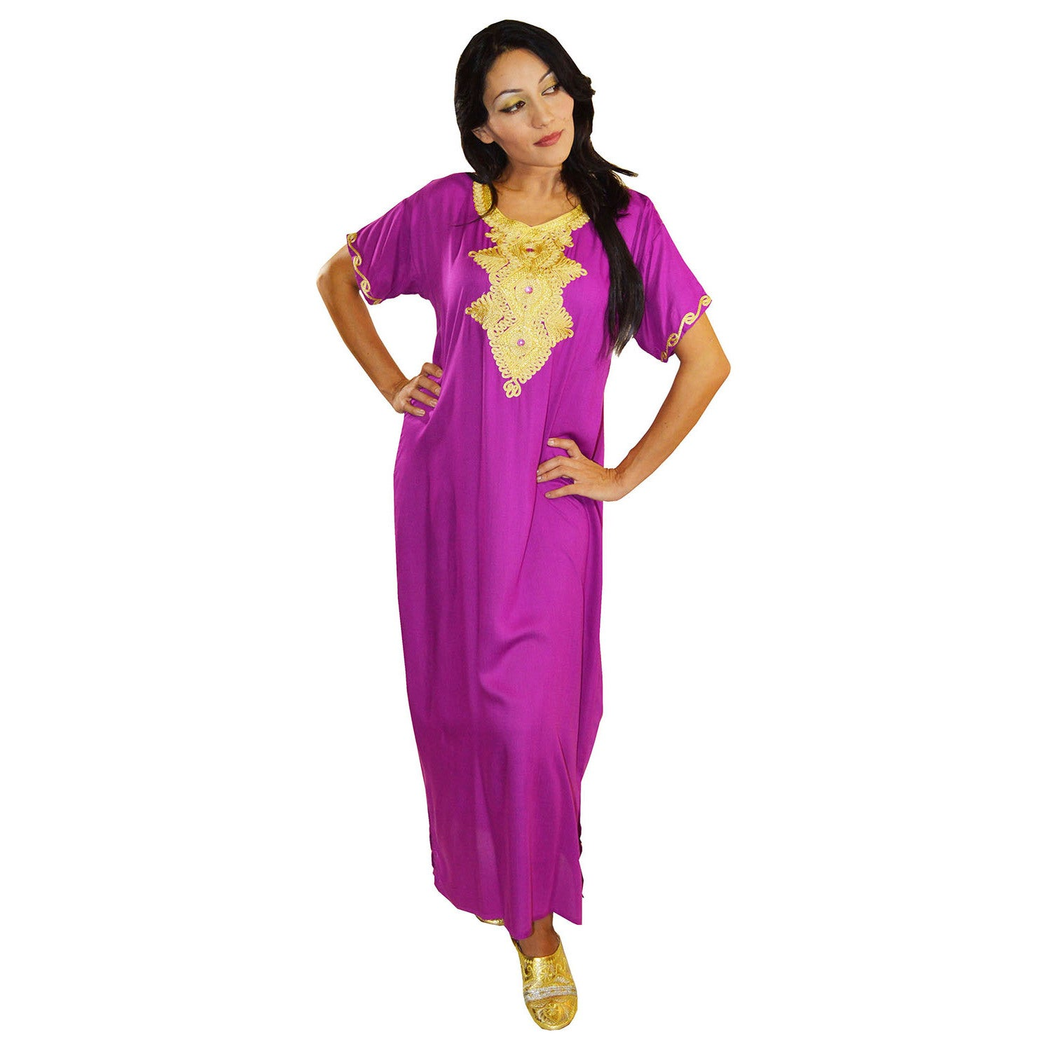 73b38aa7405 Shop Handmade Moroccan Women s Andalusia Cotton Long Caftan with Gold Embroidered  Fiber (Morocco) - Ships To Canada - Overstock - 9667845