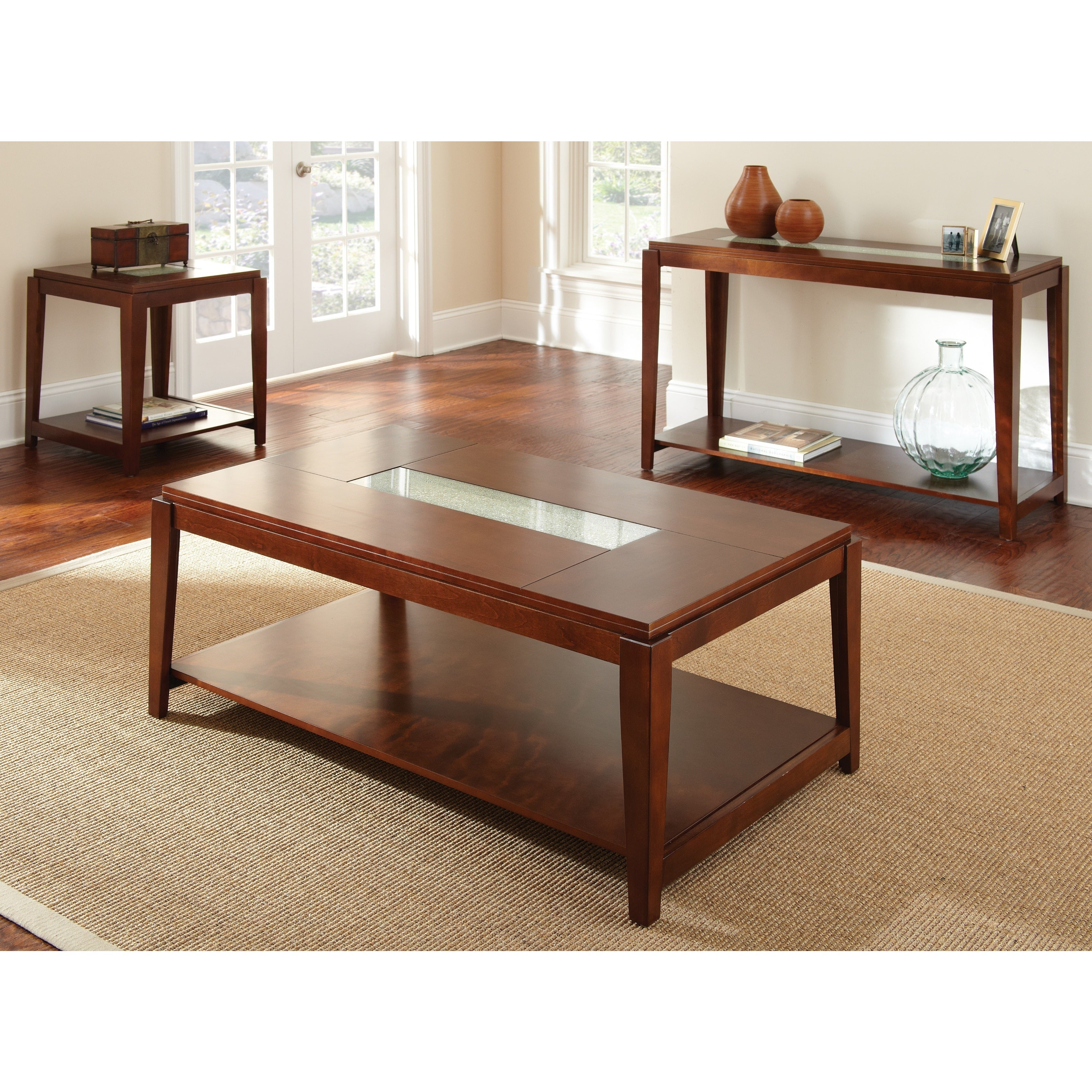 Juliana Cracked Glass Inset Coffee Table by Greyson Living Free