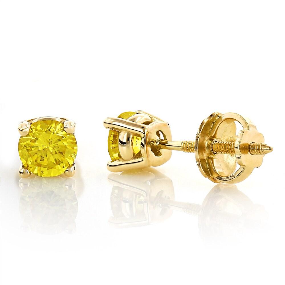 Luxurman 14k White Gold 1 2ct Tdw Yellow Diamond Stud Earrings Free Shipping Today 9672582