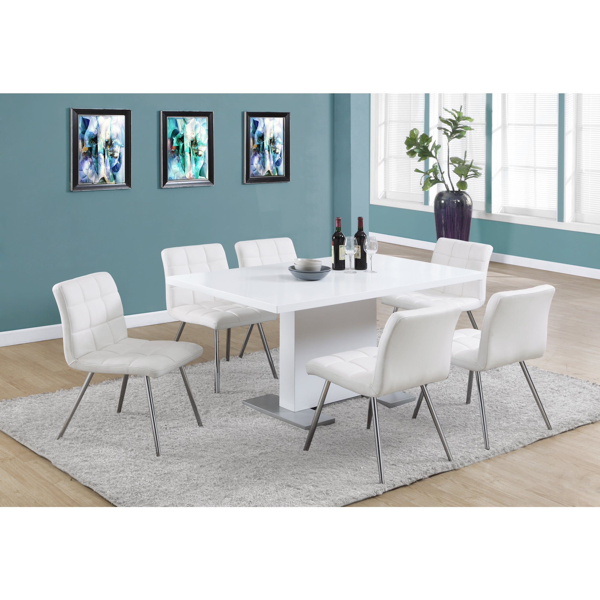 Shop White Faux Leather Chrome Metal Dining Chair (Set of 2) - Free ...