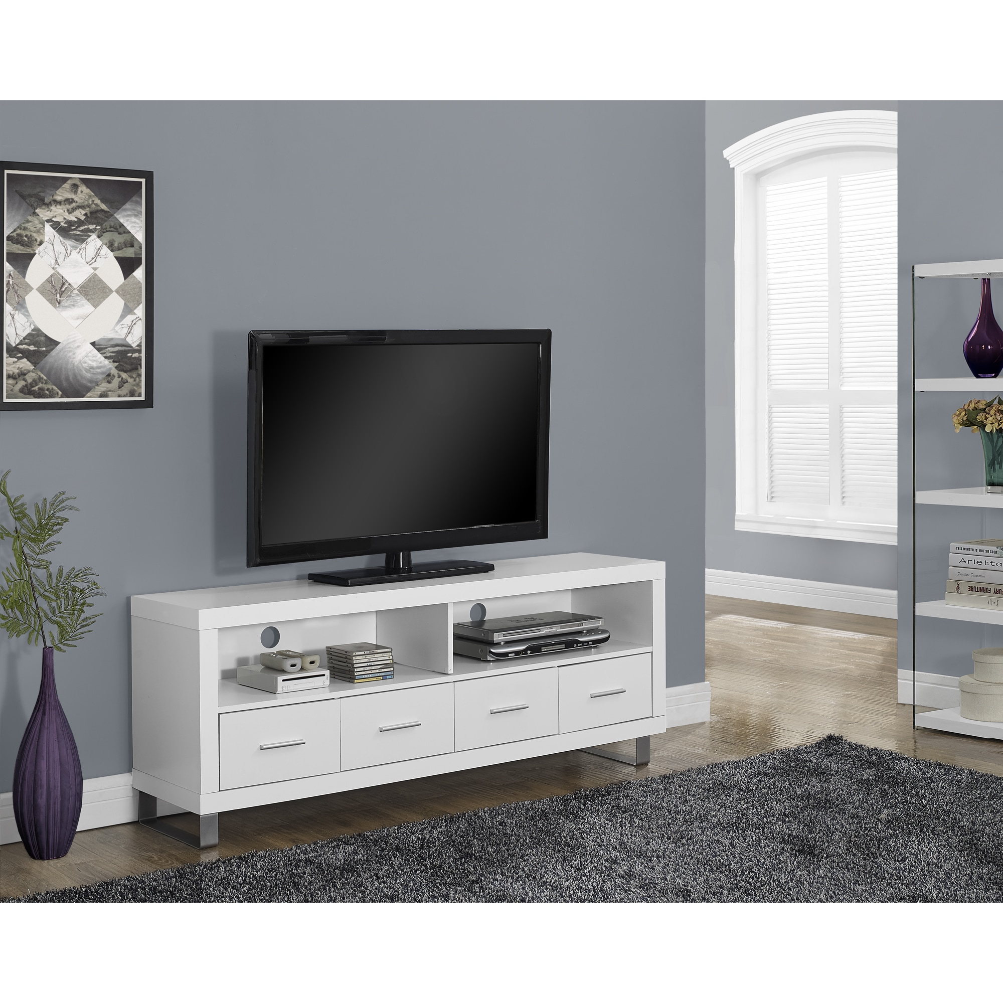 Shop White Hollow Core 60 Inch 4 Drawer TV