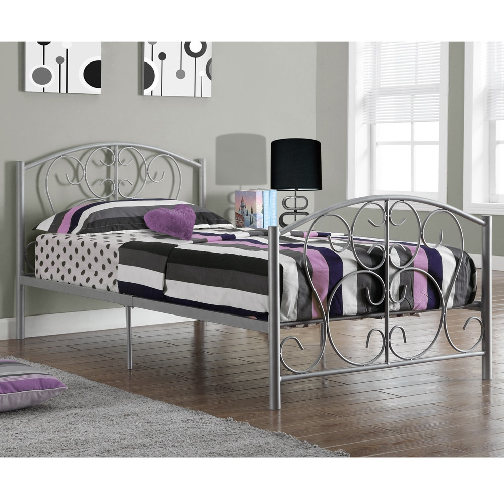 Silver Metal Twin Size Bed Frame Only - Free Shipping Today ...
