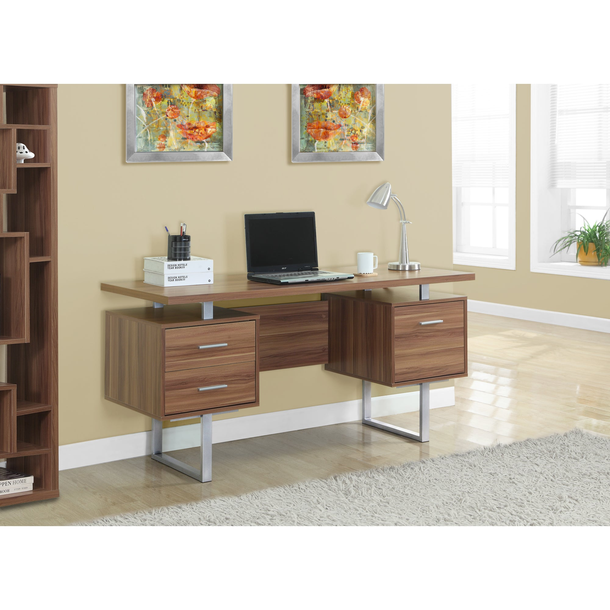 Shop walnut hollow core silver metal 60 inch office desk free shipping today overstock com 9677936