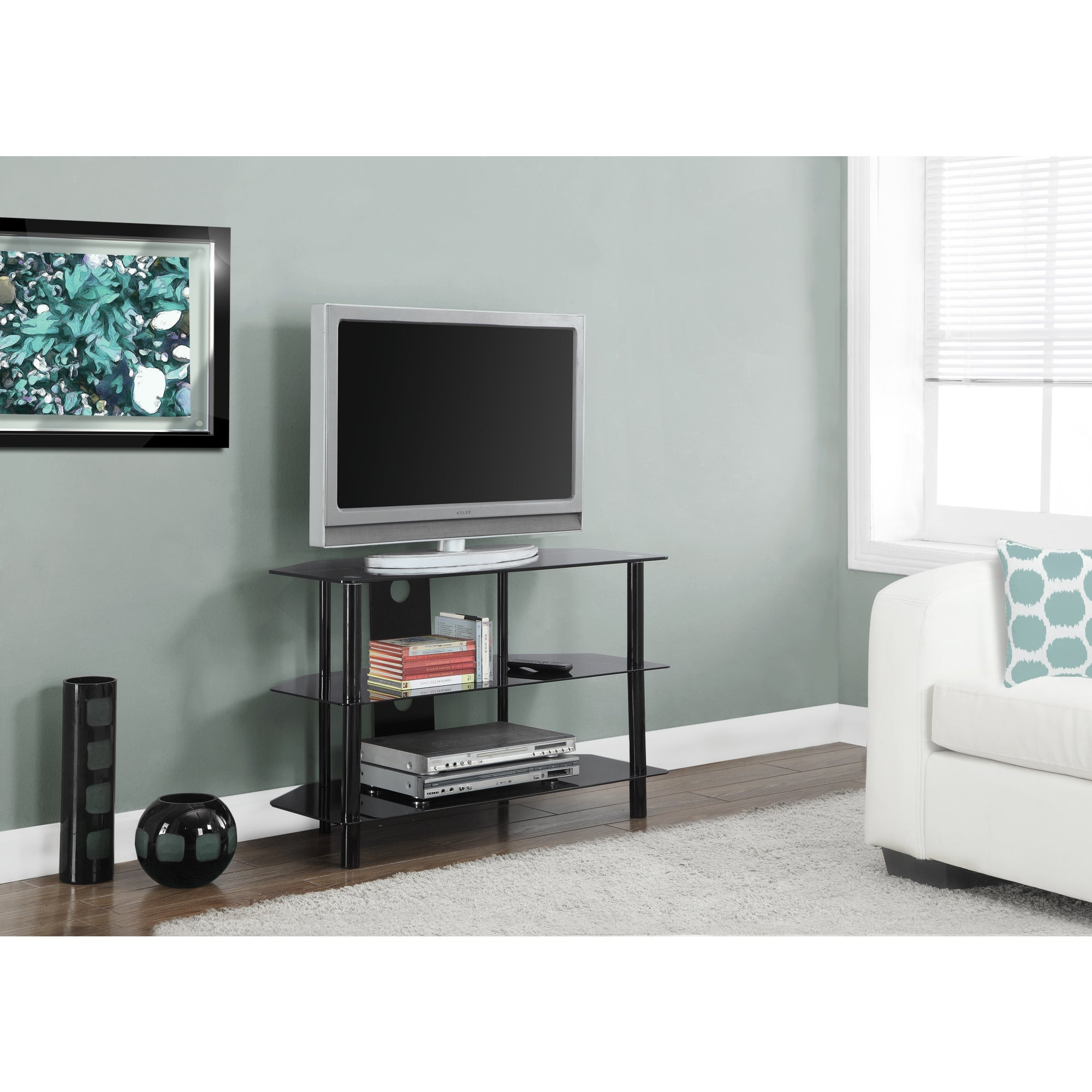 Shop Black Metal 36 Inch Tempered Glass Tv Stand Free Shipping
