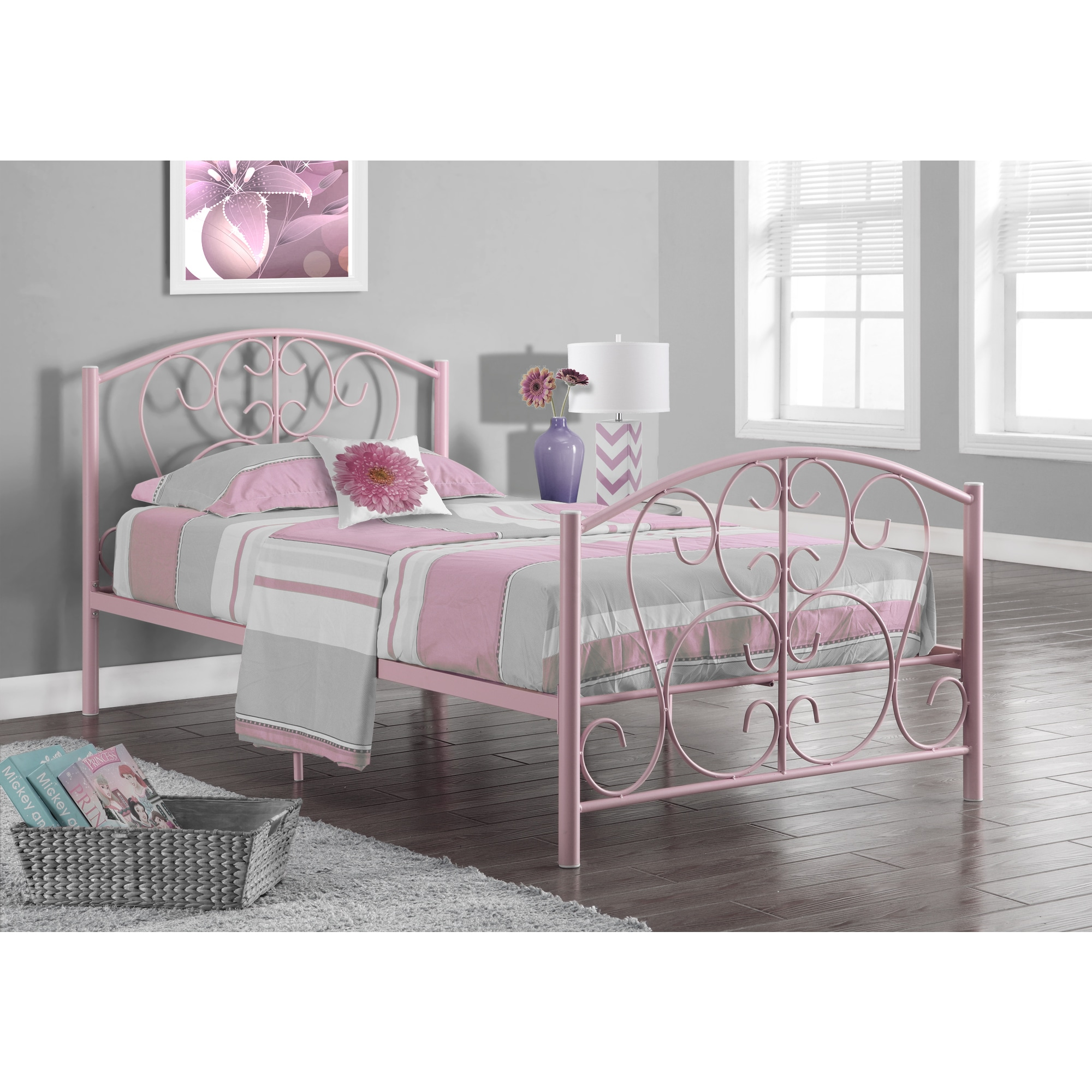 Pink Metal Twin Size Bed Frame