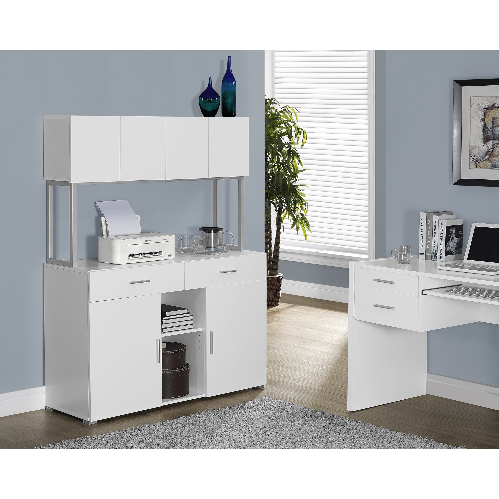 White Hollow-core 48 inches Office Storage Credenza - Free ...