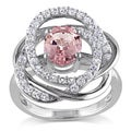 Miadora Sterling Silver White Sapphire and Morganite Flower Ring