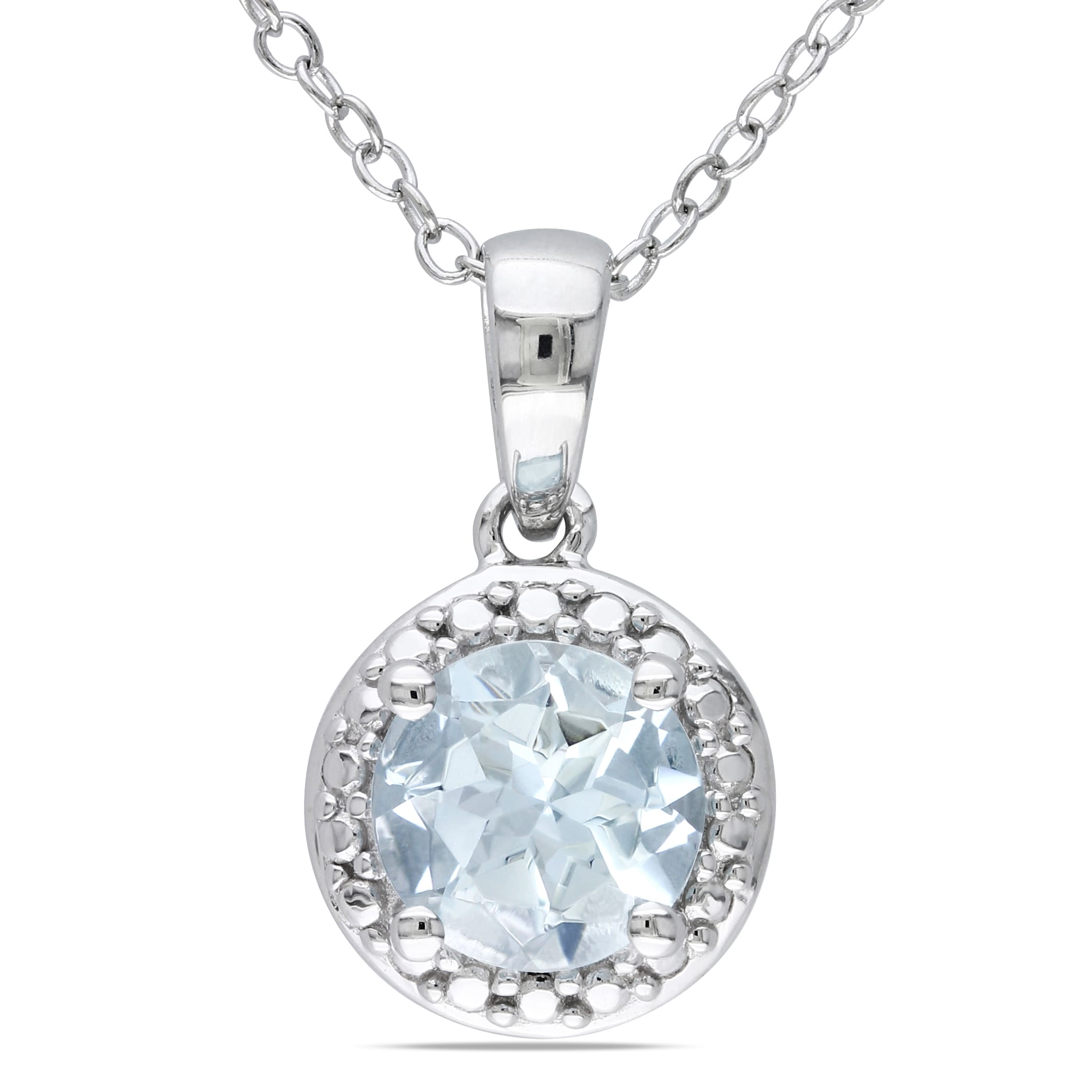 diamond natural itm aquamarine silver with sterling ct in pendant