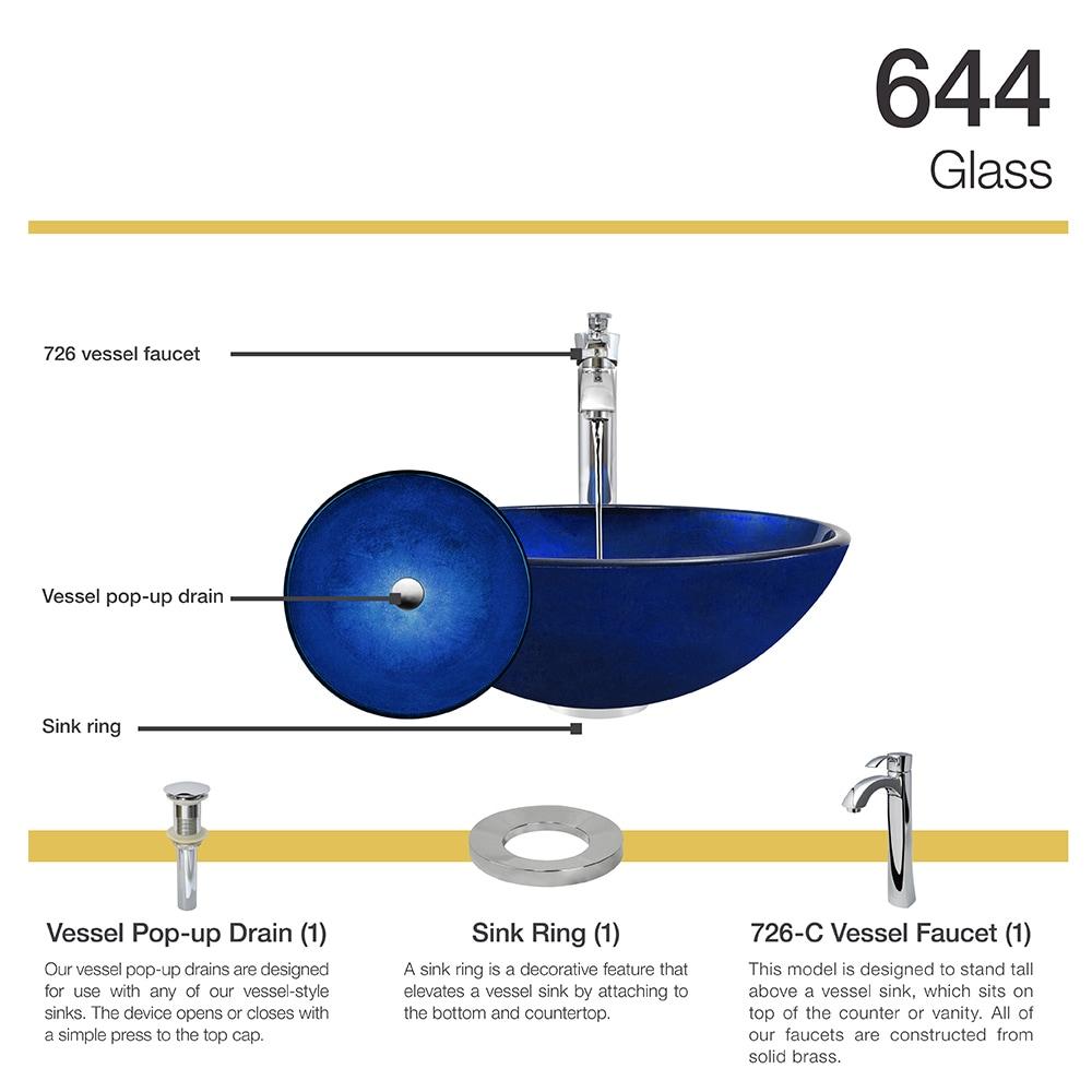 644 Foil Undertone Blue Glass Vessel Sink, Chrome Vessel Faucet ...