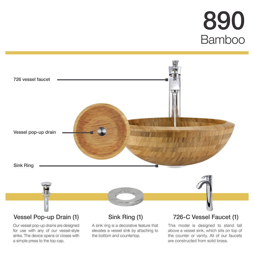 890 Bamboo Vessel Bathroom Sink, With Chrome Vessel Faucet, Sink Ring, And  Vessel Pop Up Drain   Free Shipping Today   Overstock.com   16859976