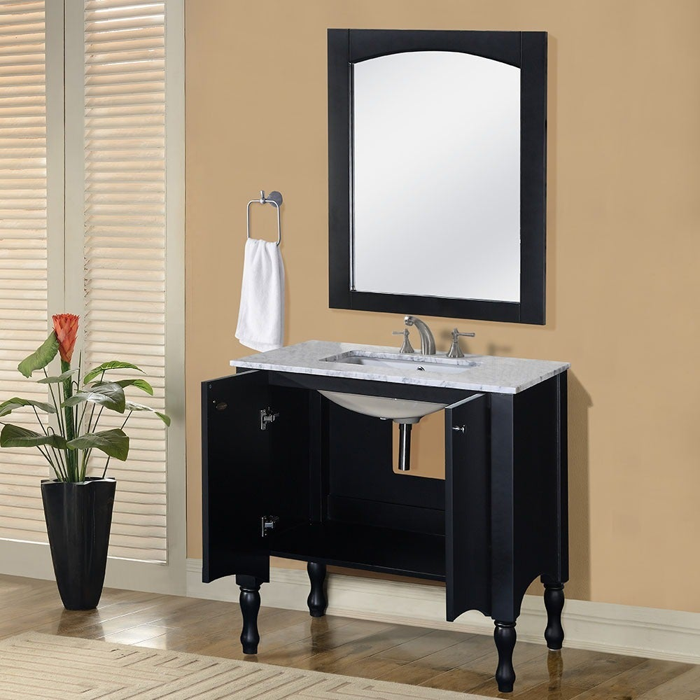 Shop Contemporary Black 40 Inch Carrara White Marble Top Single Sink