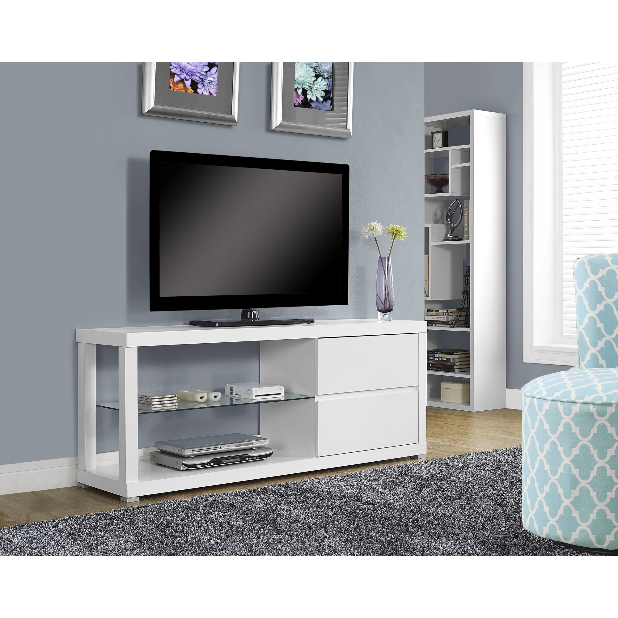 Shop White Hollow core TV Console with Tempered