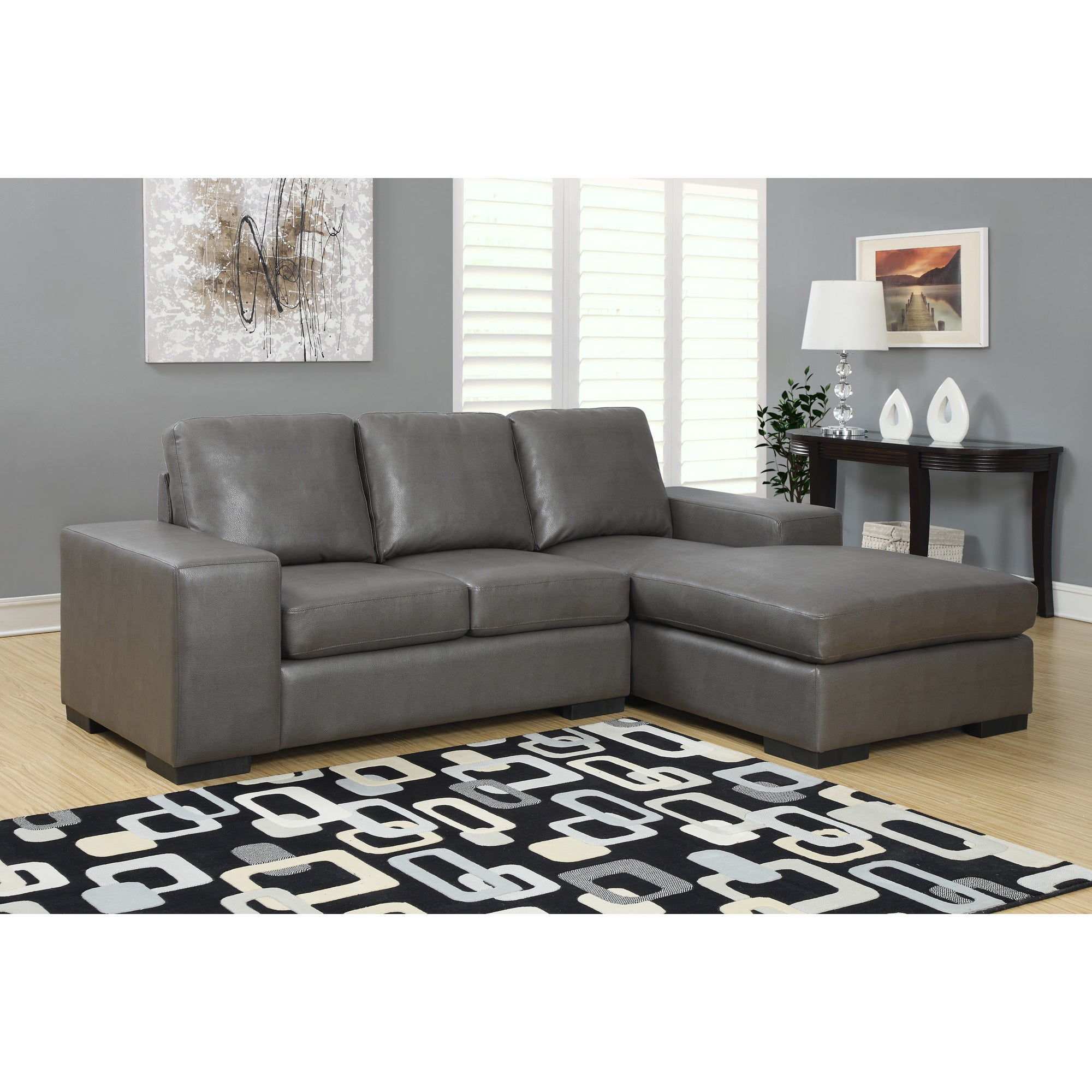 Shop Charcoal Grey Bonded Leather Sectional Sofa Lounger - Free ...