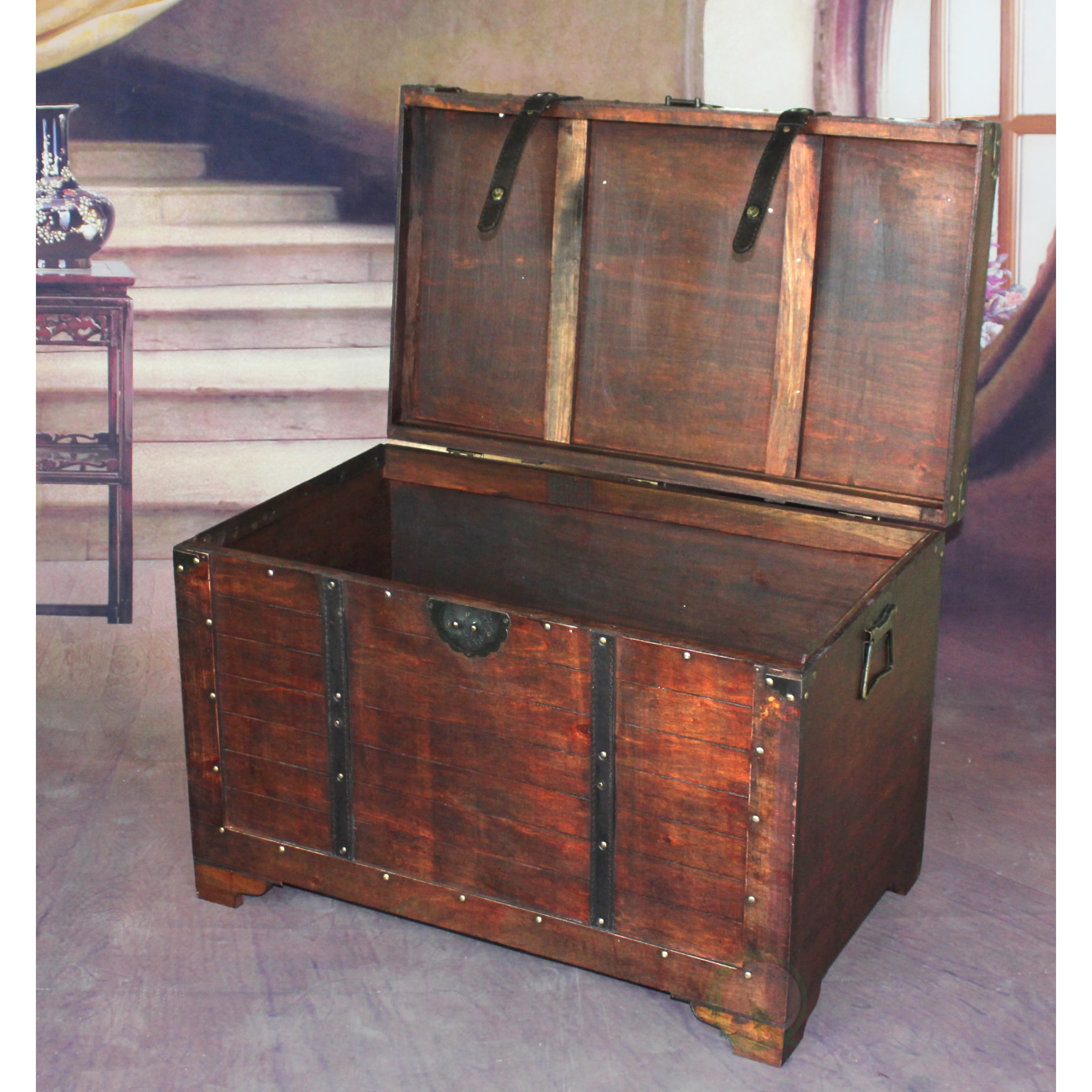 Vintiquewise Brown Wooden Old Fashioned Treasure Hope Chest Free Shipping Today 9684858