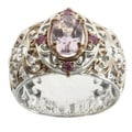 Michael Valitutti Palladium Silver Kunzite and Pink Sapphire Ring