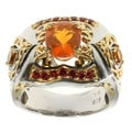 Michael Valitutti Fire Opal With Madeira Citrine and Orange Sapphire Ring