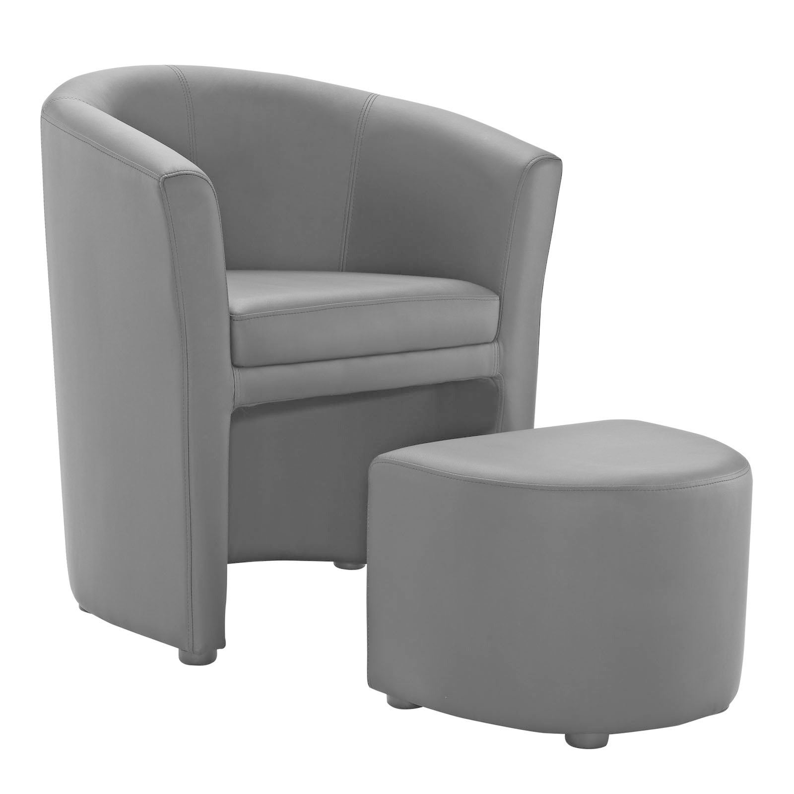 Attractive White Armchair With Ottoman #11 - Divulge Modern Leatherette Armchair And Ottoman - Free Shipping Today -  Overstock - 16871686