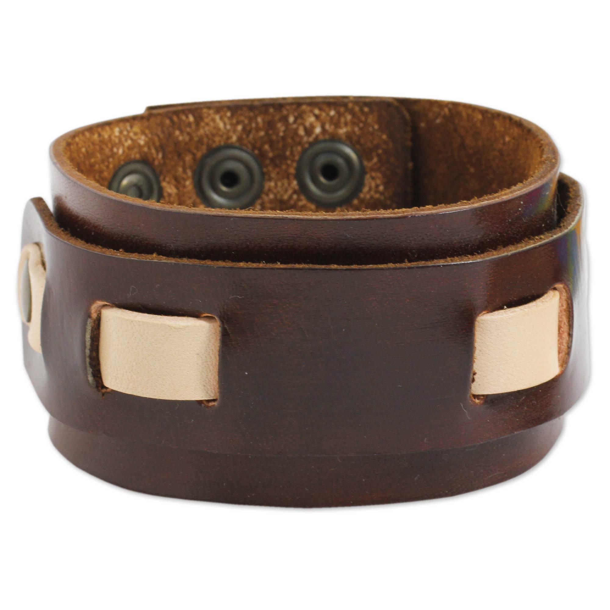 e124a2e31d06 Shop Handmade Men's Leather 'Voyager' Wristband Bracelet (Thailand ...