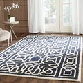 Safavieh Handmade Cambridge Navy/ Ivory Wool Rug (8' x 10')