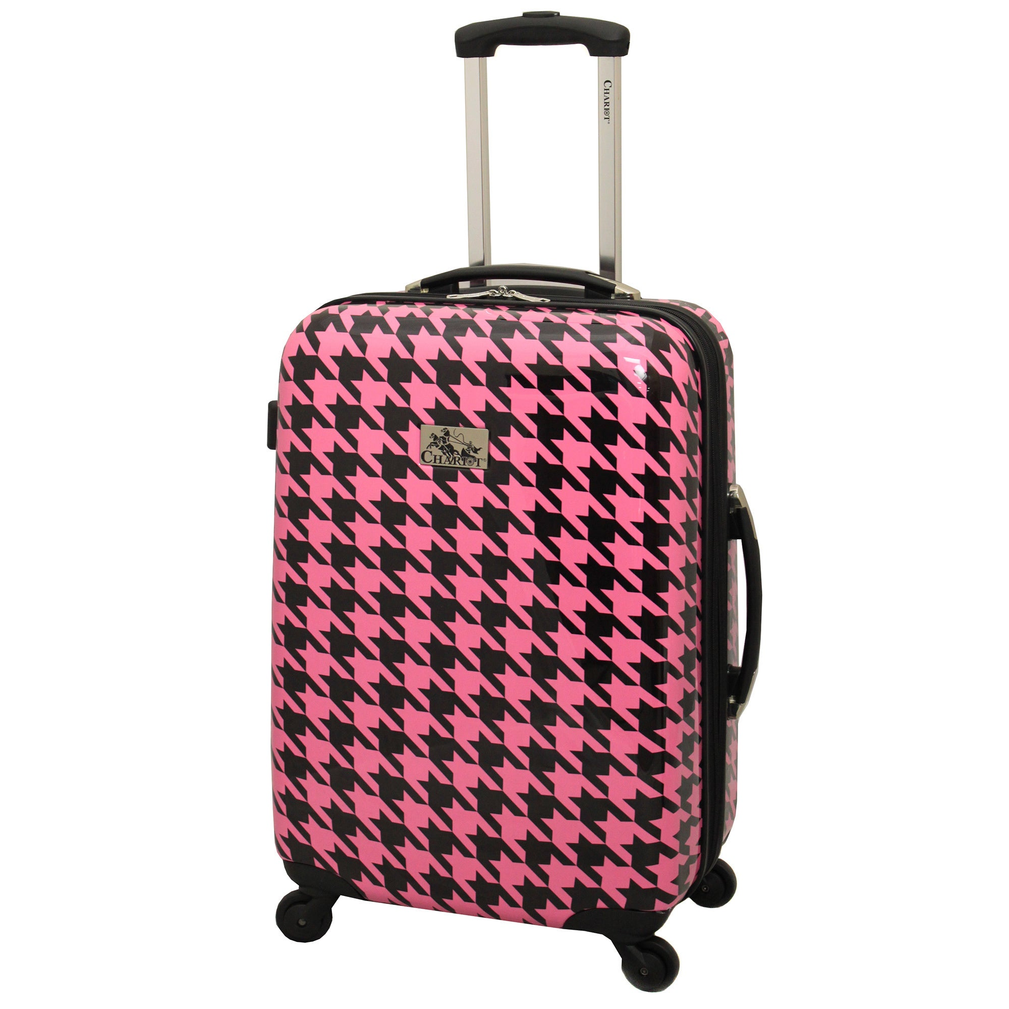 d6ff0f1ba Shop Chariot Houndstooth 3-Piece Hardside Lightweight Expandable Upright  Spinner Luggage Set - On Sale - Free Shipping Today - Overstock - 9721094