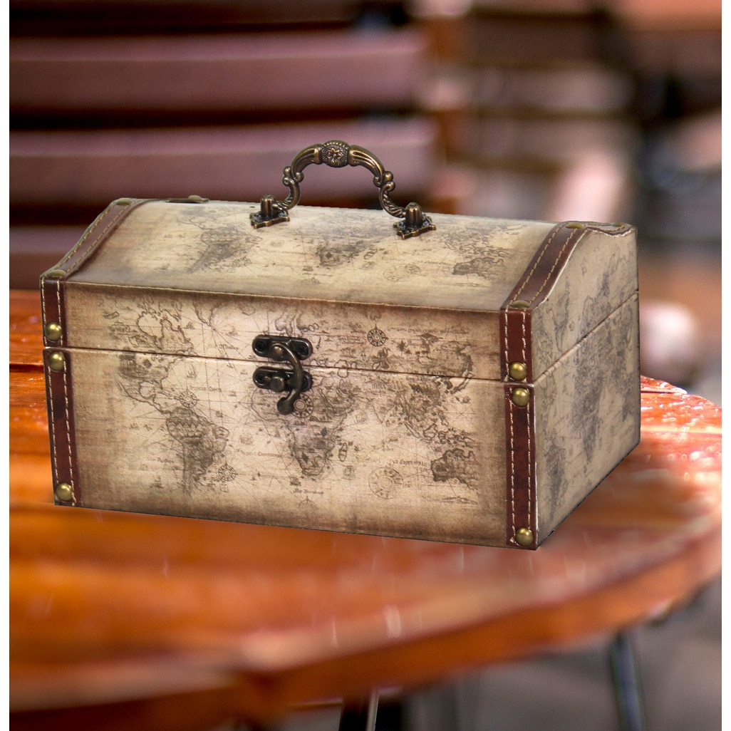 Old world map leather vintage style treasure box free shipping on old world map leather vintage style treasure box free shipping on orders over 45 overstock 16895772 gumiabroncs Gallery