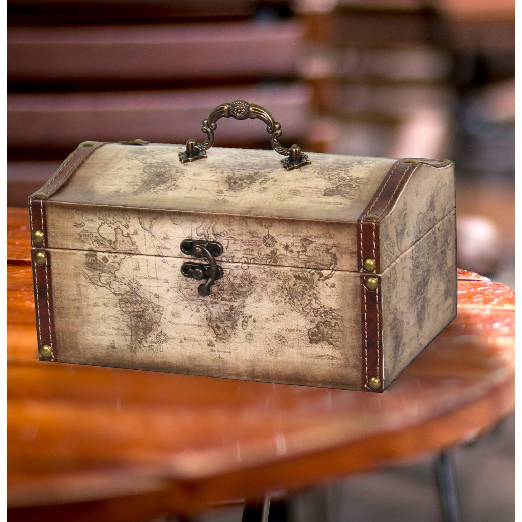 Old world map leather vintage style treasure box free shipping on old world map leather vintage style treasure box free shipping on orders over 45 overstock 16895772 gumiabroncs Images