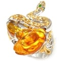 Michael Valitutti Yellow Gold-plated Sterling Silver Amber and Sapphire Snake Ring
