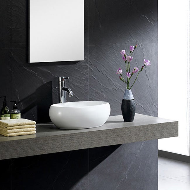 Fine Fixtures White China Oval Modern Vessel Sink   Free Shipping Today    Overstock.com   16897600