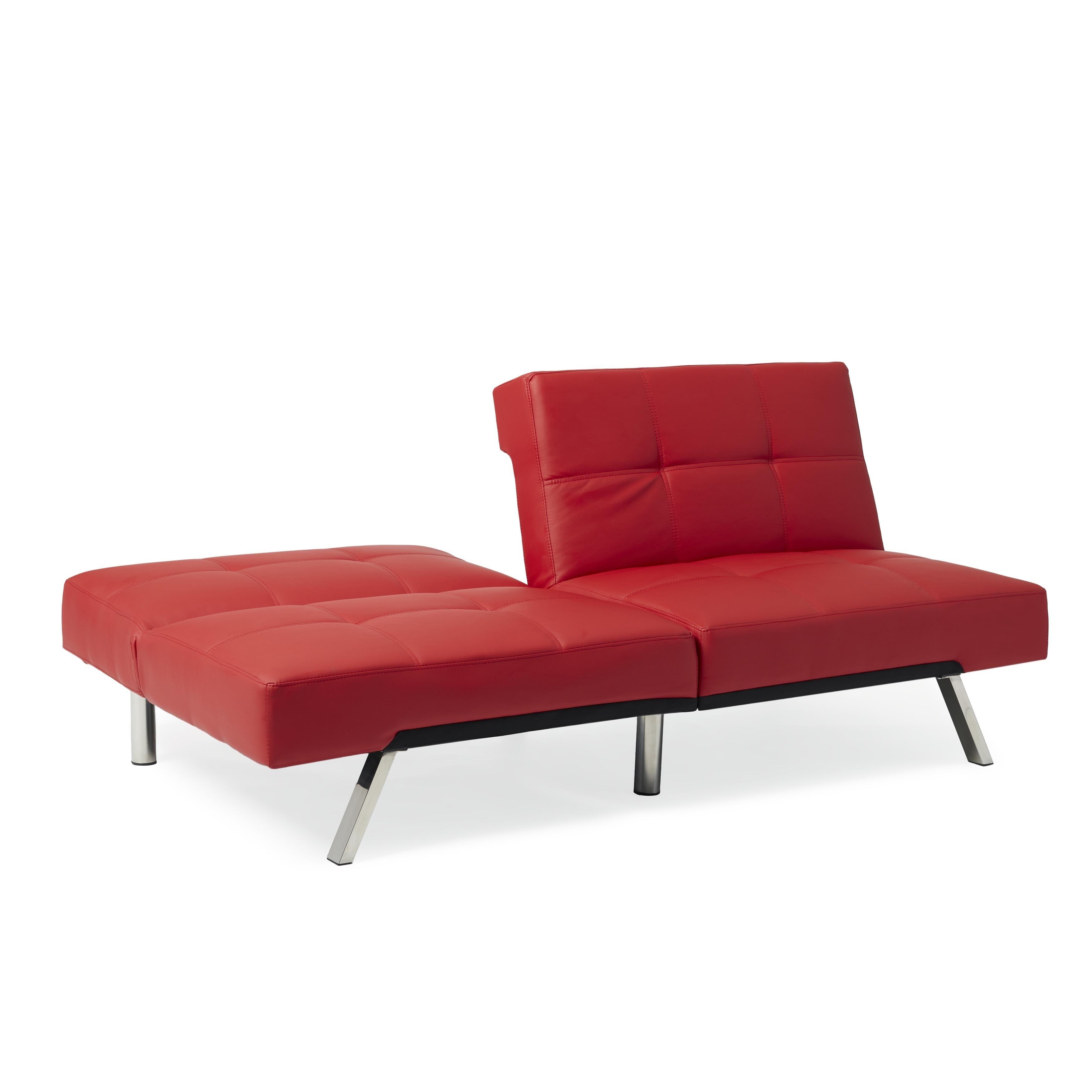 Abbyson Aspen Red Bonded Leather Foldable Futon Sleeper Sofa