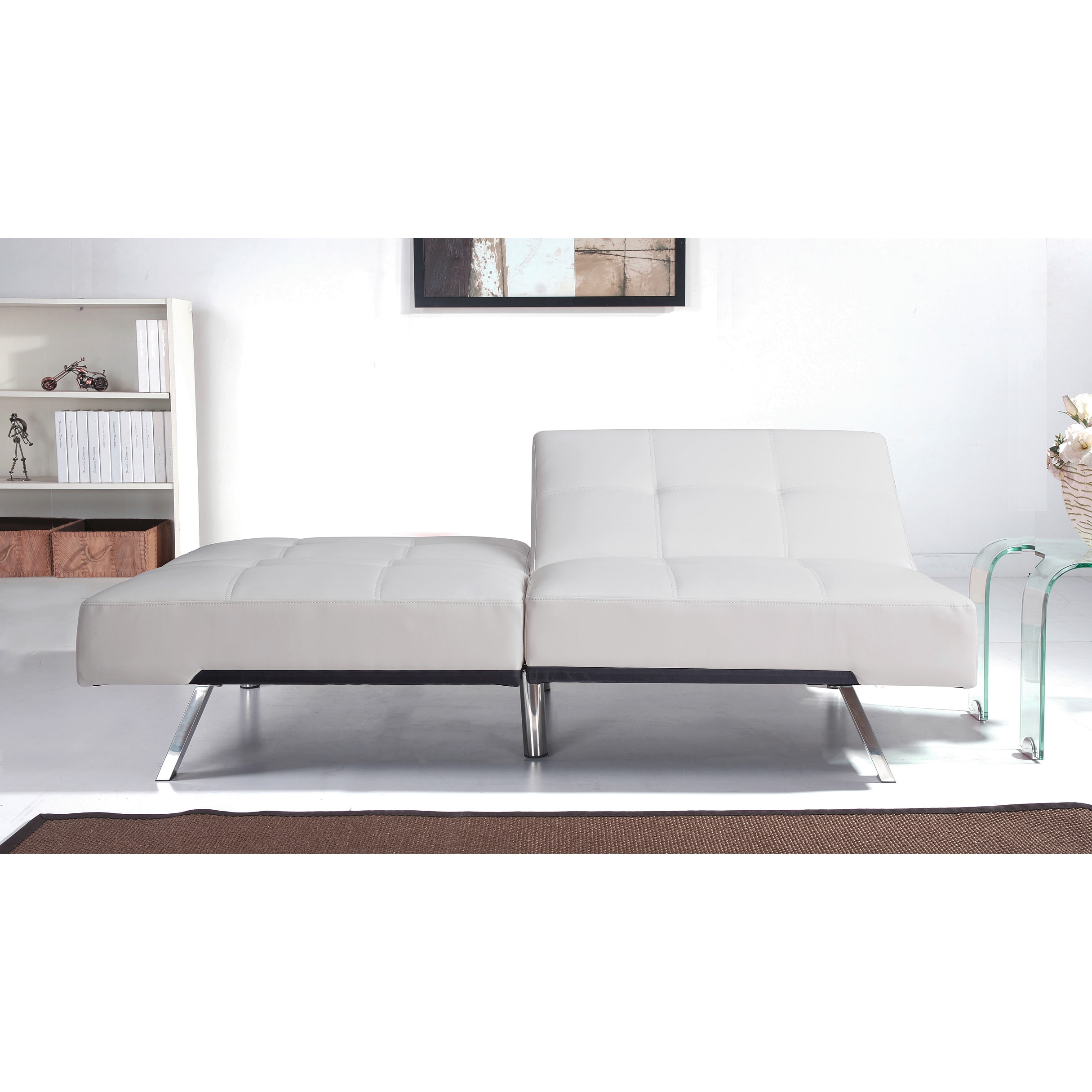 Abbyson Aspen Ivory Bonded Leather Foldable Futon Sleeper Sofa On Free Shipping Today 9723558