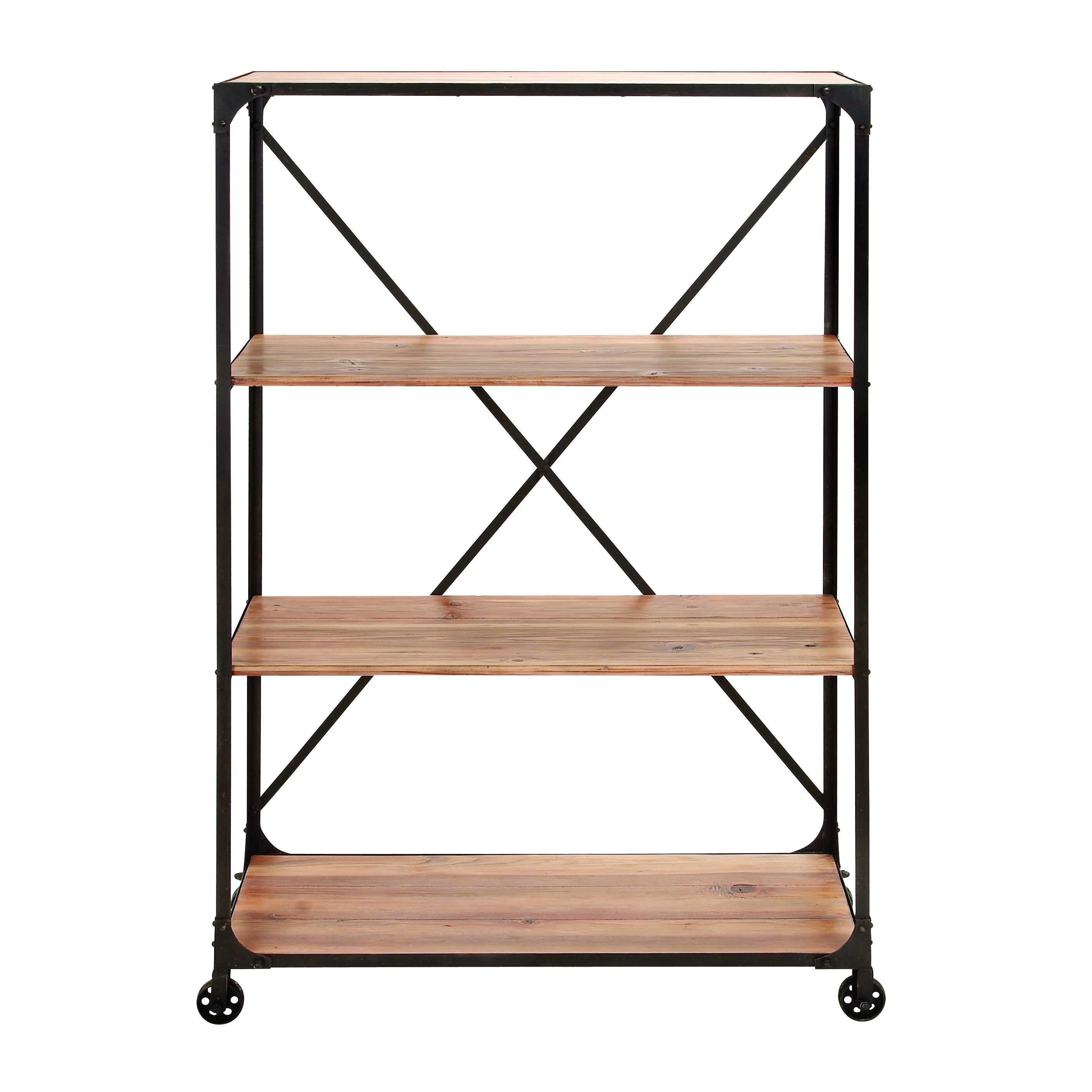 Etonnant Shop Metal/ Wood Rolling Storage Shelf   On Sale   Free Shipping Today    Overstock.com   9723755