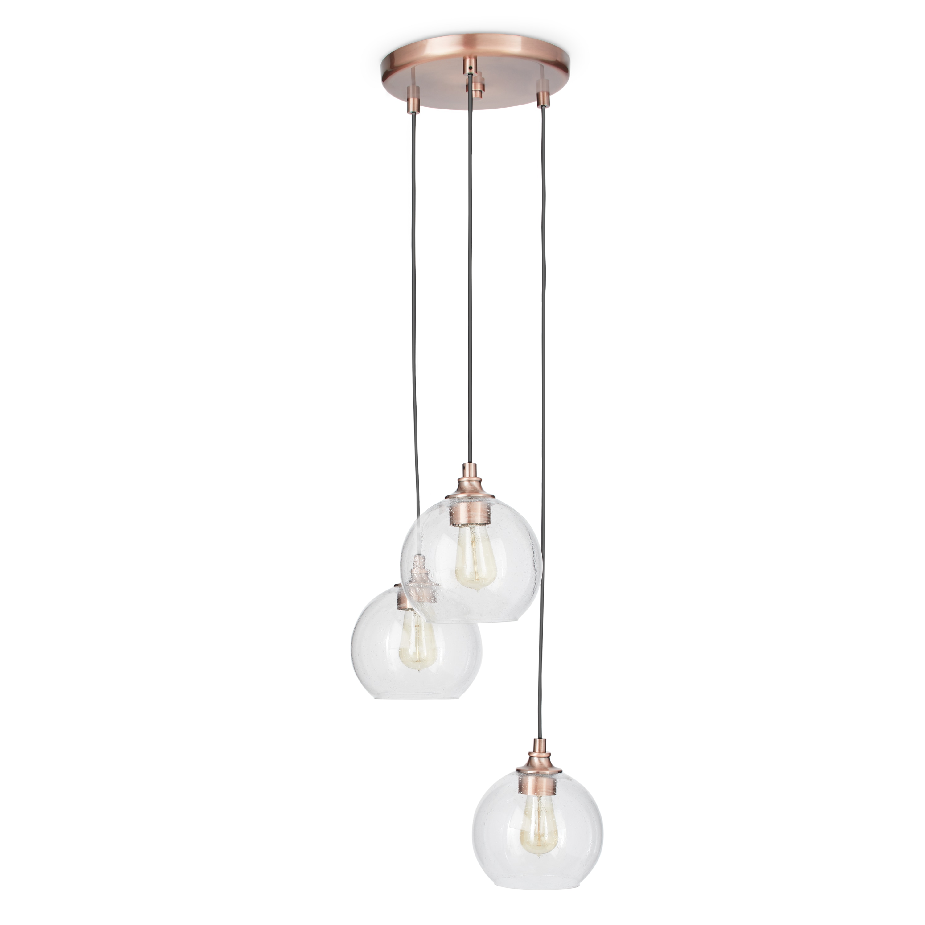 Uptown Clear Globe Cluster Copper 3 Light Pendant   Free Shipping Today    Overstock.com   16898446